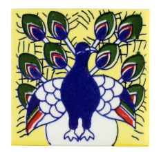 Beautiful Navy Blue Peacock Ceramic Tile