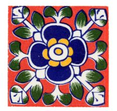Navy Blue Ceramic Floral Tiles