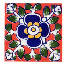 Navy Blue Ceramic Floral Tiles