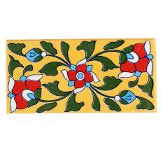Red Flower With Forest Green Leaf Ceramic Tile