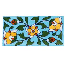 Turquoise Base Yellow Flower Ceramic Tiles