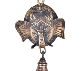 Brass Ganesha Face With Bell Wall Hanging