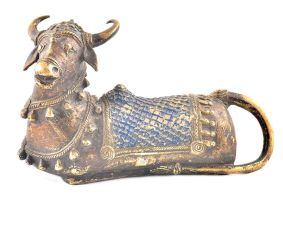Brass Sitting Shiva Nandi Statue