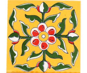 Mustard Base Forest Green Leaf Ceramic Tile