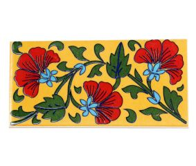 Yellow Base Red Flower Ceramic Tiles