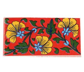 Yellow Flower With Forest Green Leaf Ceramic Tiles