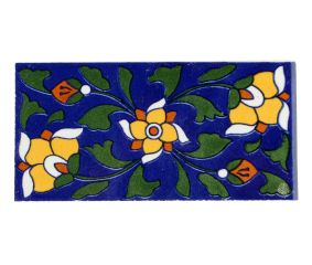 Navy Blue And Yellow Ceramic Tile With Flower And Leafs