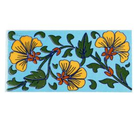 Turquoise Base Yellow Flower Ceramic Tiles