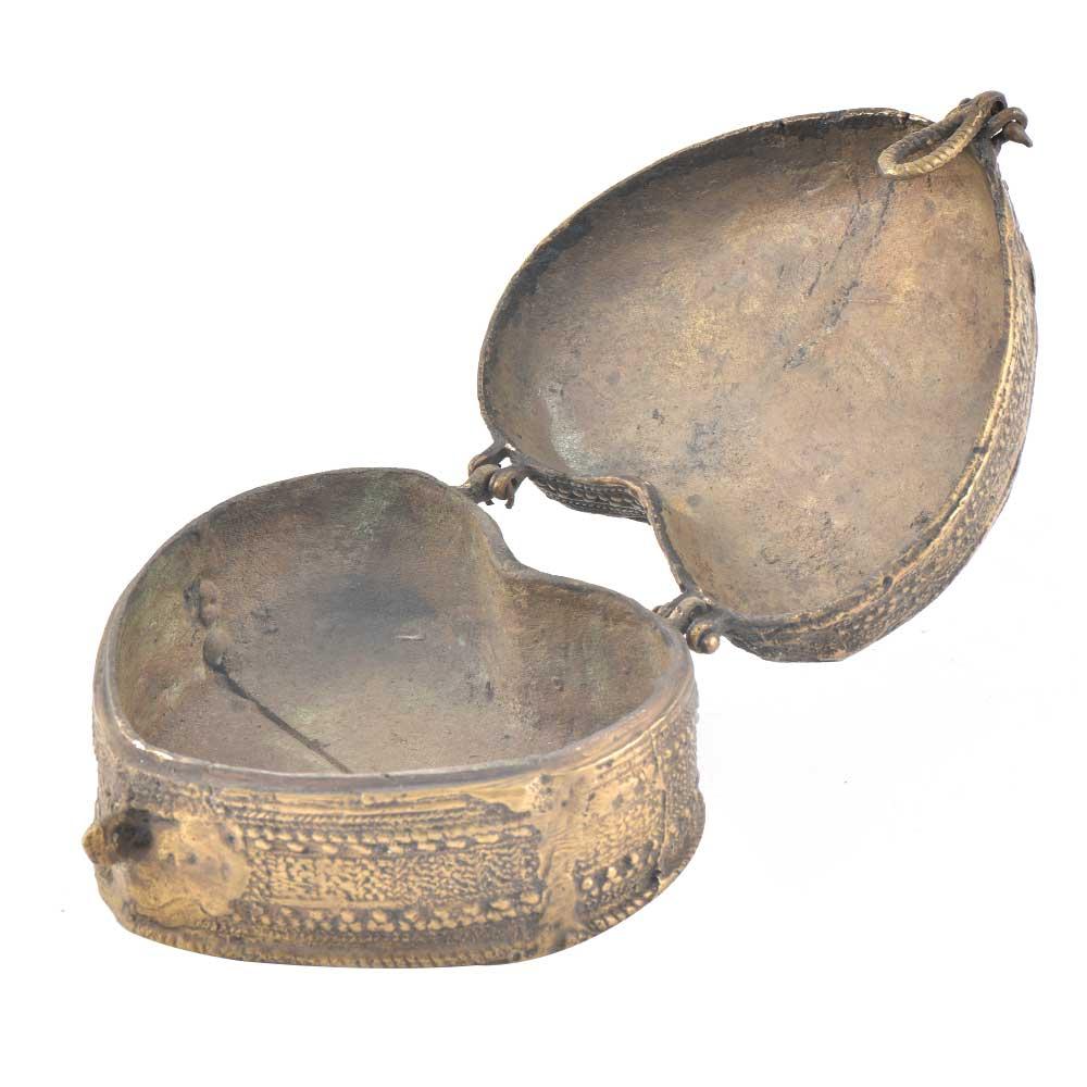 Vintage Brass Heart Shaped Trinket Box