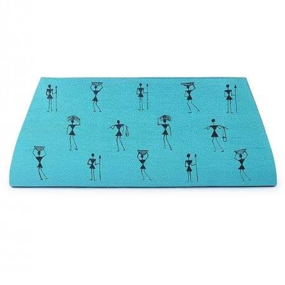 Handmade Blue Color Warli Painted Cotton Silk Clutch bag for Women