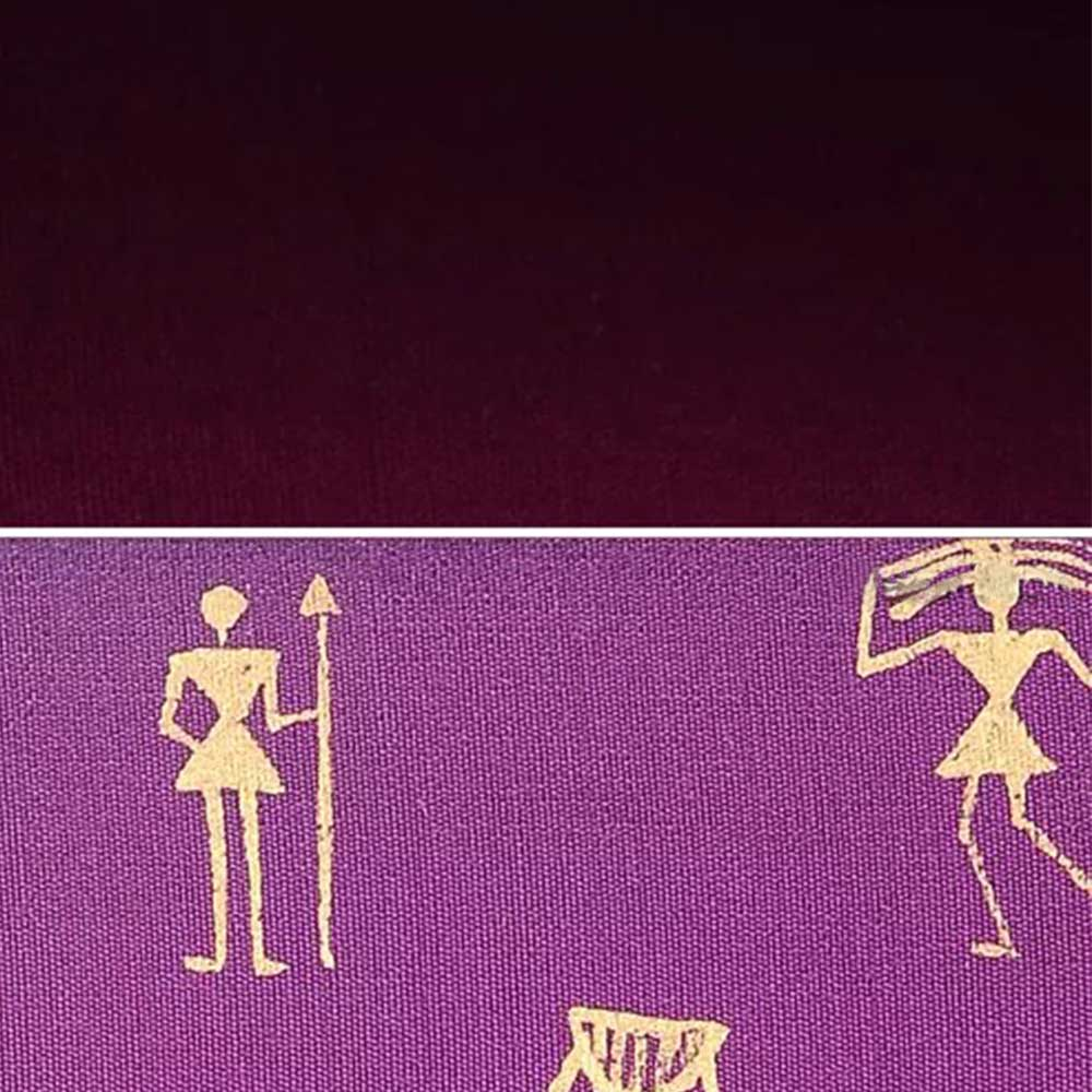 Handmade Purple Color Warli Painted Cotton Silk Clutch bag for Women