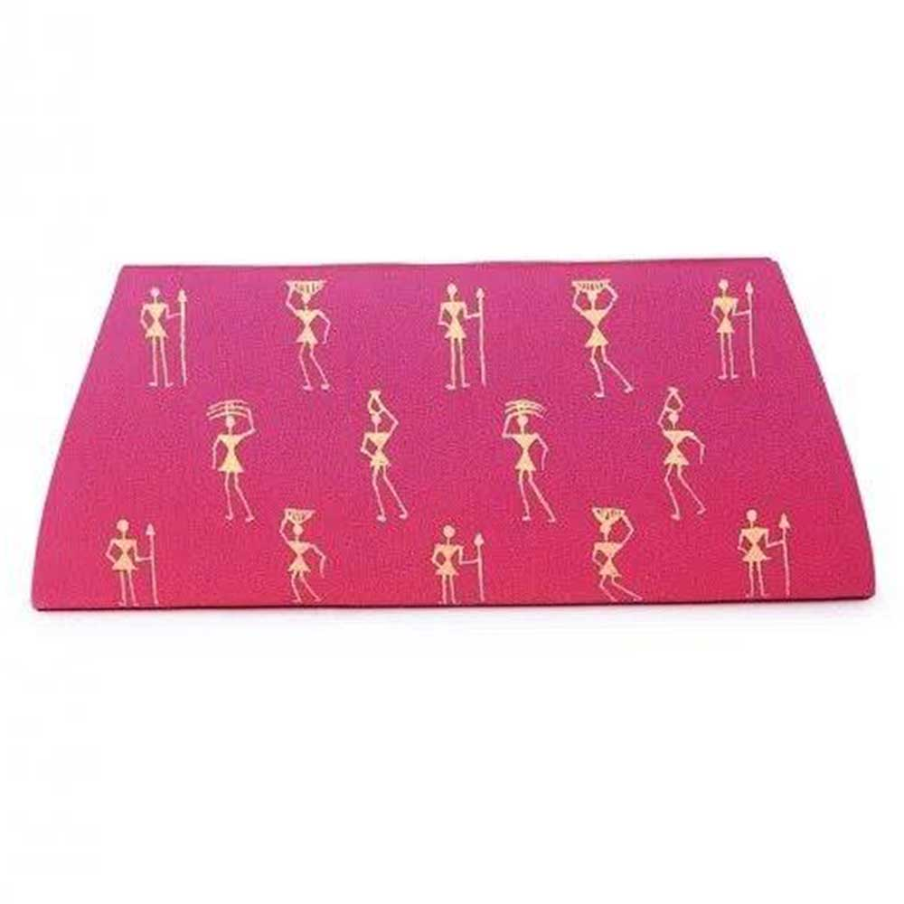 Handmade Pink Color Warli Painted Cotton Silk Clutch bag for Women