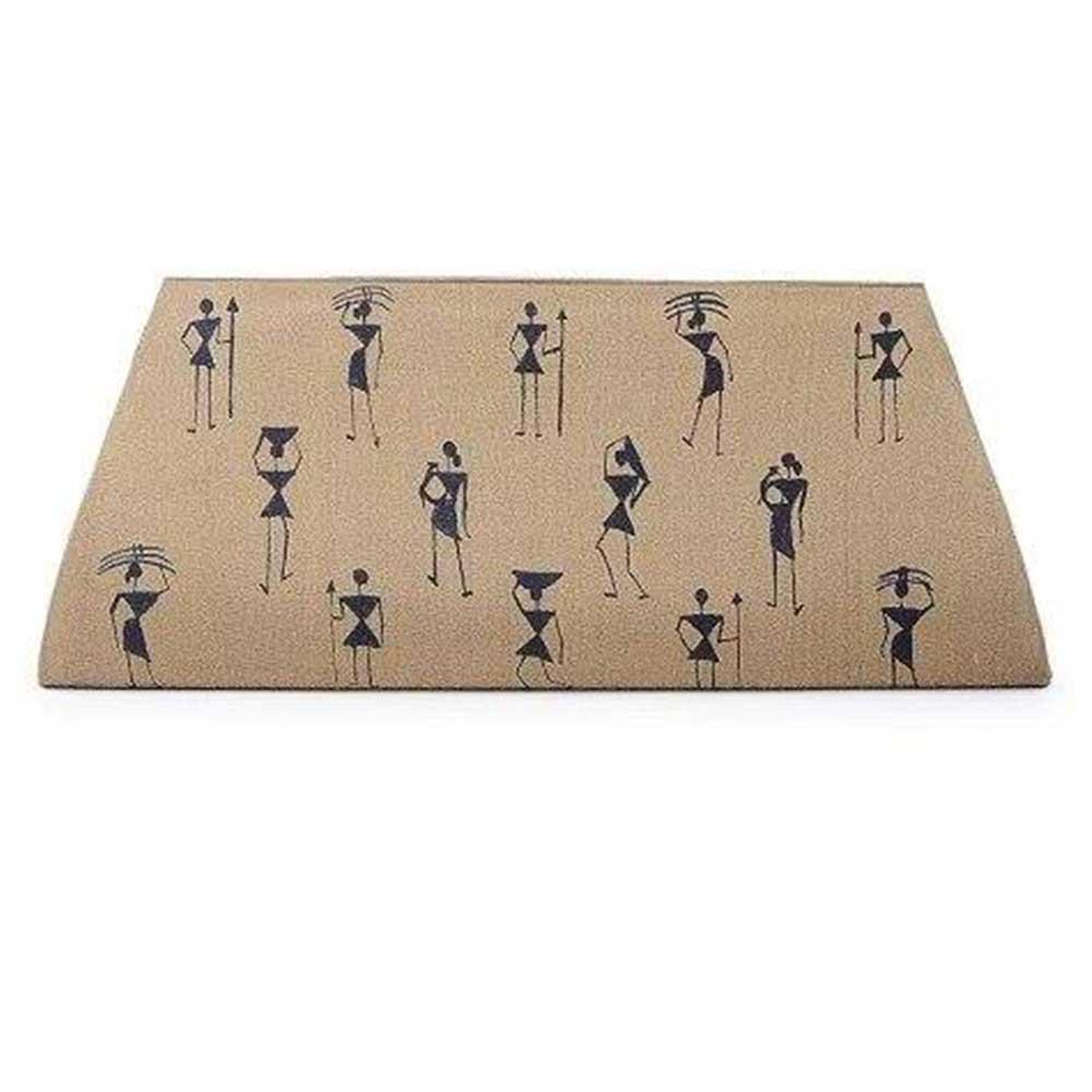 Handmade Beige Color Warli Painted Cotton Silk Clutch bag for Women