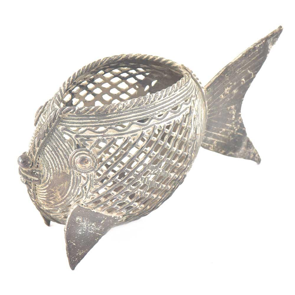 Brass Tribal Fish Pen Stand Napkin Holder
