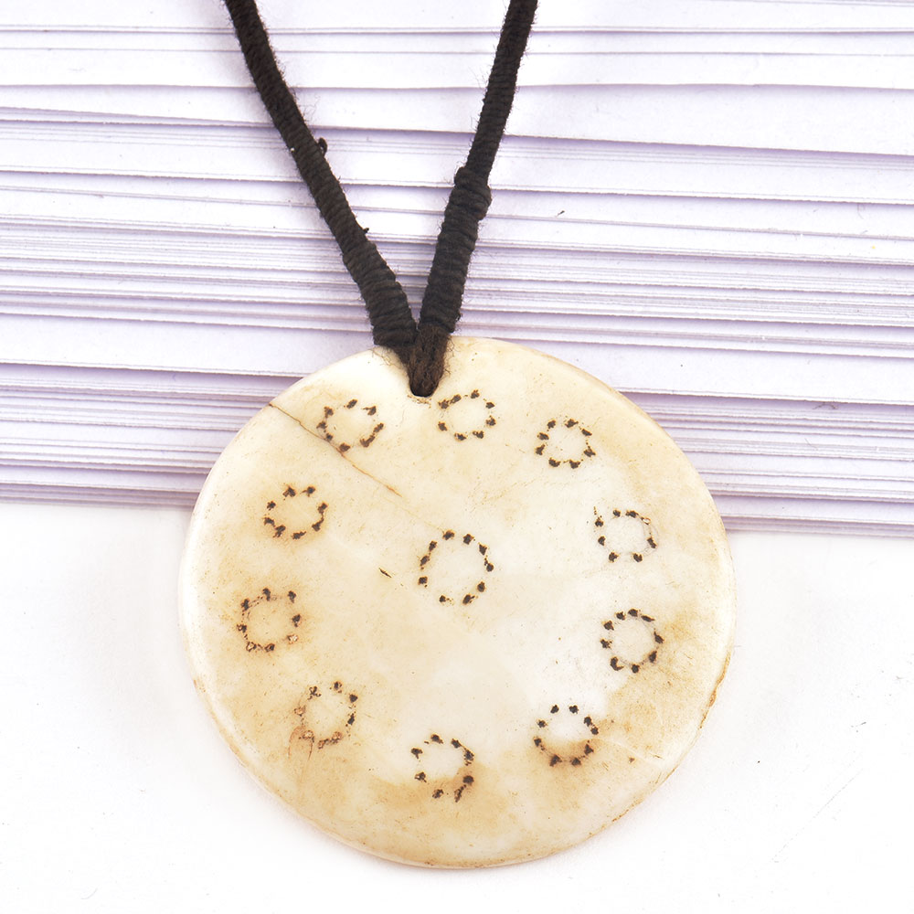Round Engraved White Shell Pendant With Black Cord