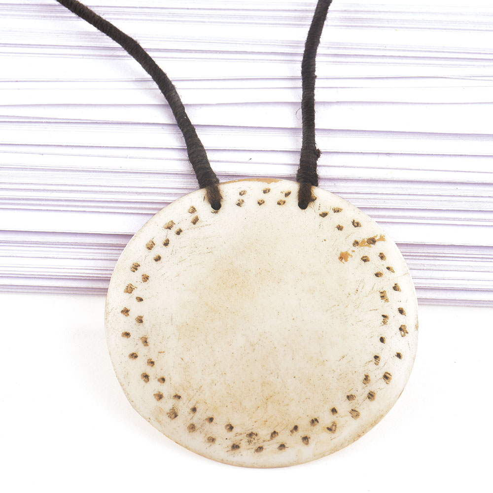 Engraved Circular White Shell Pendant With Black Cord