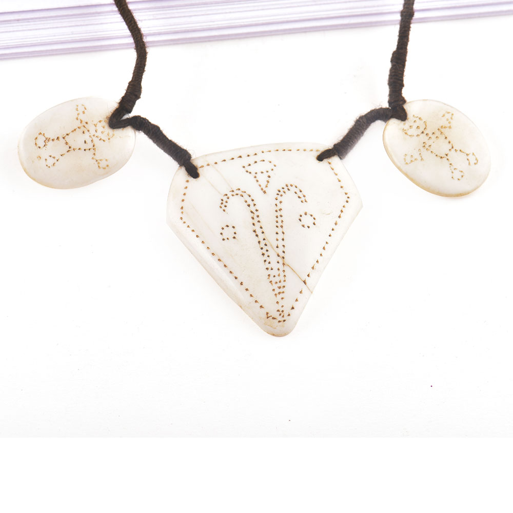 Engraved Figure 3 White Shell Necklace with Black Cord