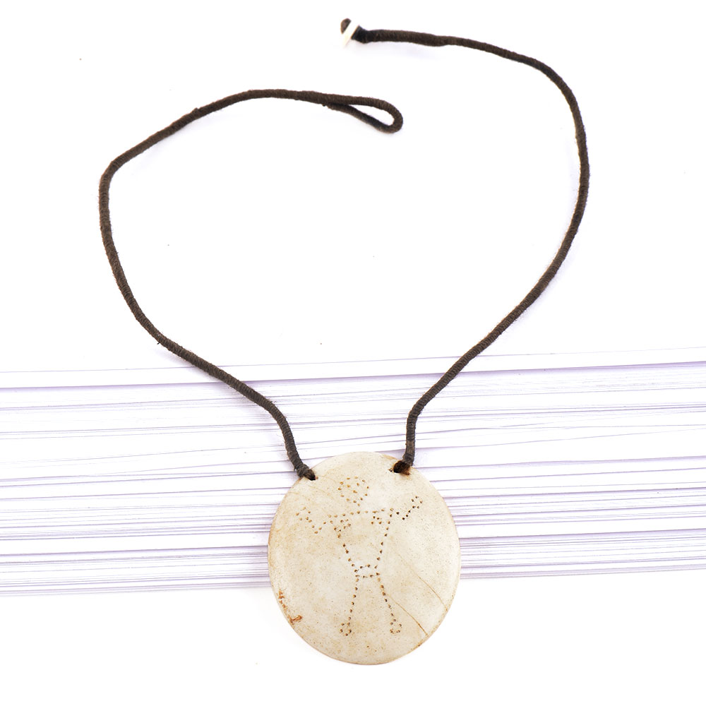 Single Engraved Figure Pendant With Black Cord