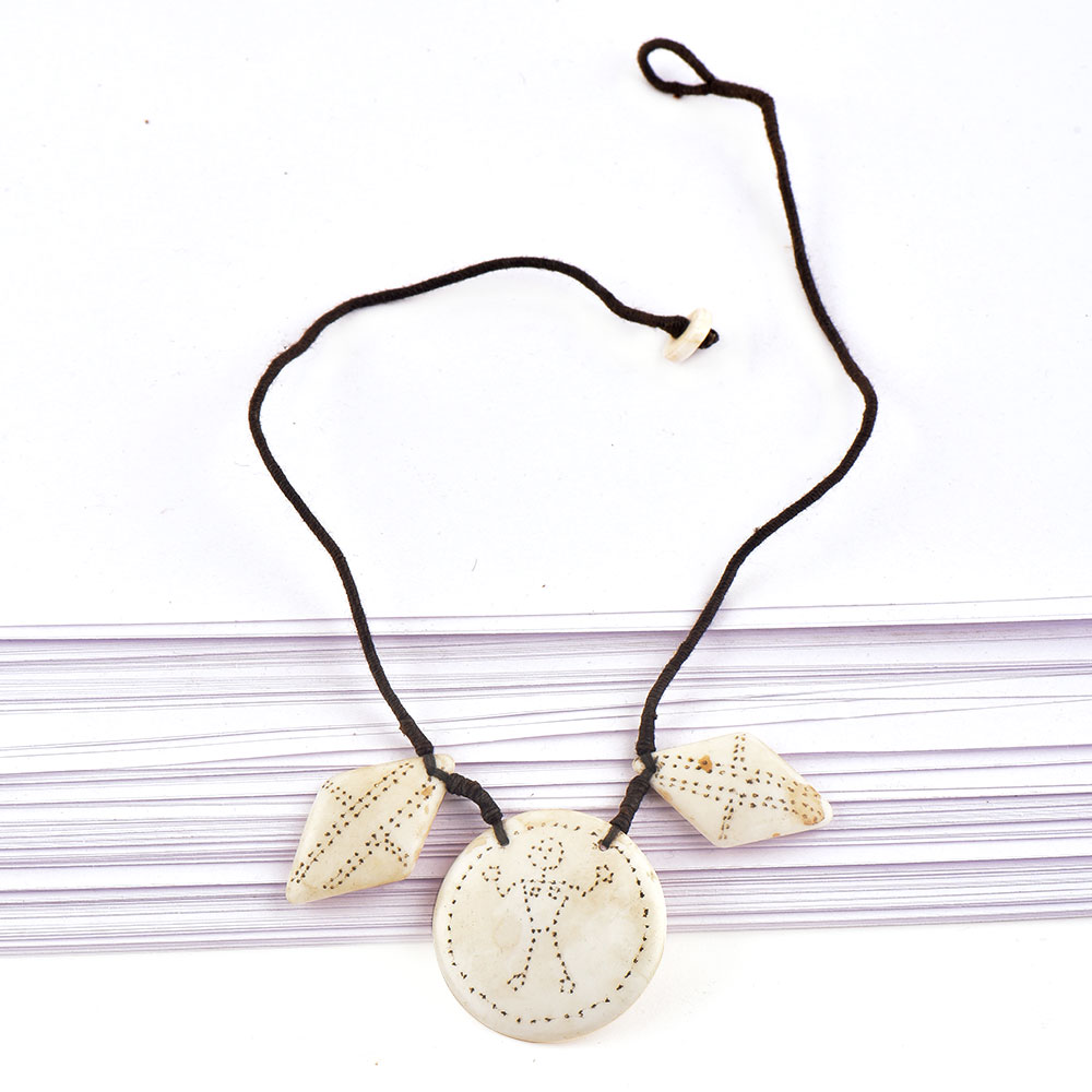Three Sea Shell Engraved Necklace with Black Cord