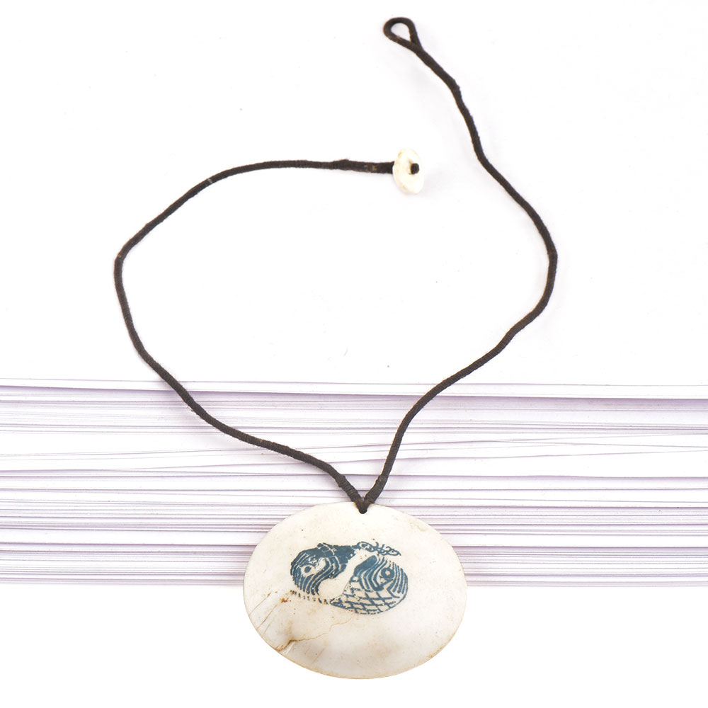 Hand Painted Single Sea Shell Pendant With Black Cord