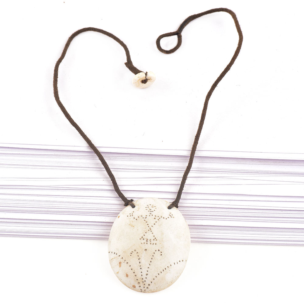 Engraved Tribal Design Sea Shell Pendant With Black Cord