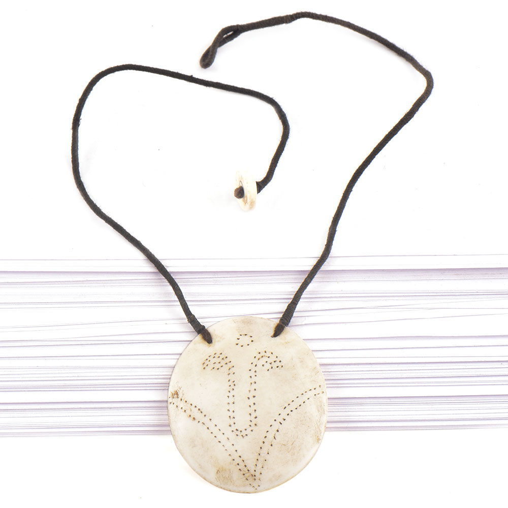 Single Sea Shell Pendant With Engraved Design With Black Cord