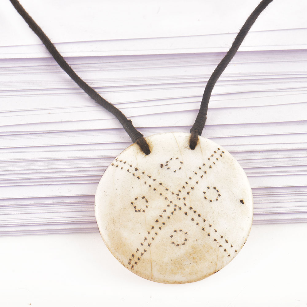 Engraved Geometric Design Sea Shell Pendant With Black Cord