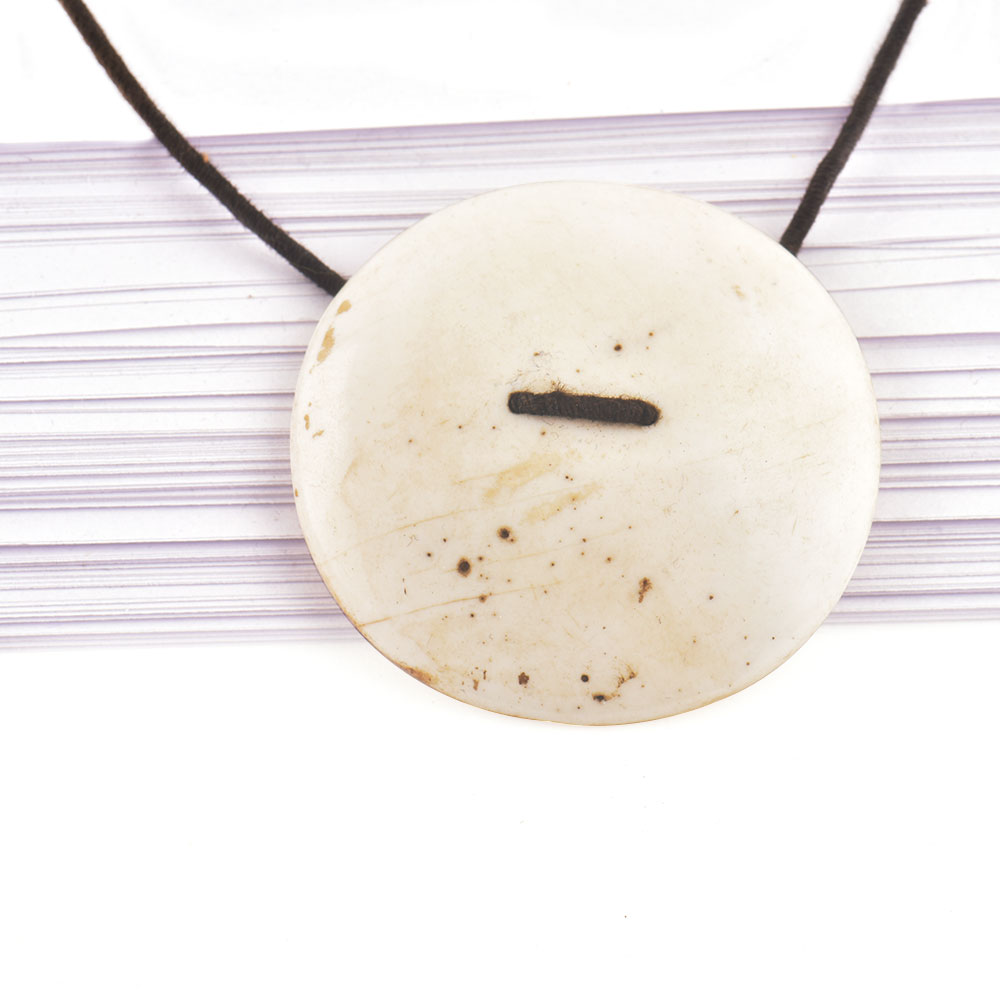Elegant White Sea Shell Pendant With Black Cord