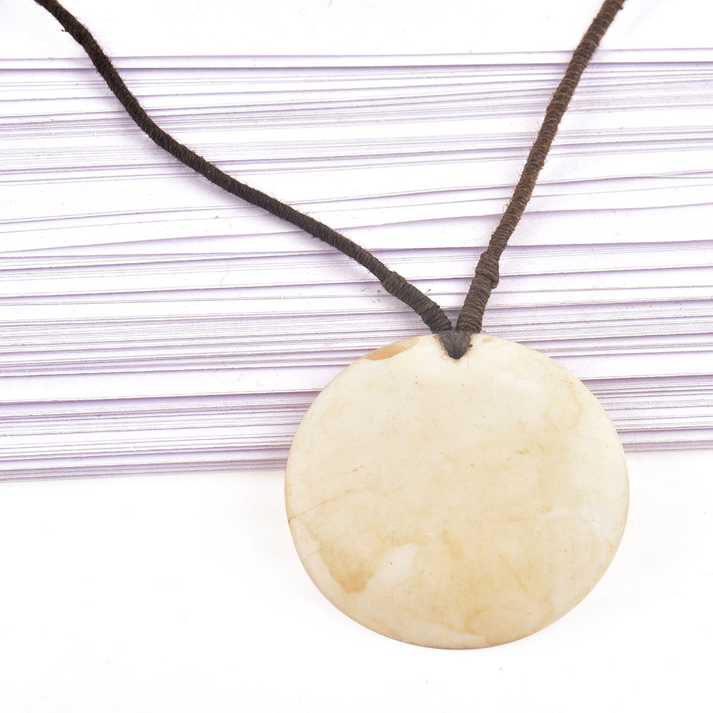 Round White Shell Pendant With Black Cord