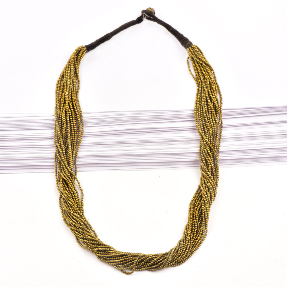 Brass Bead Strand Necklace