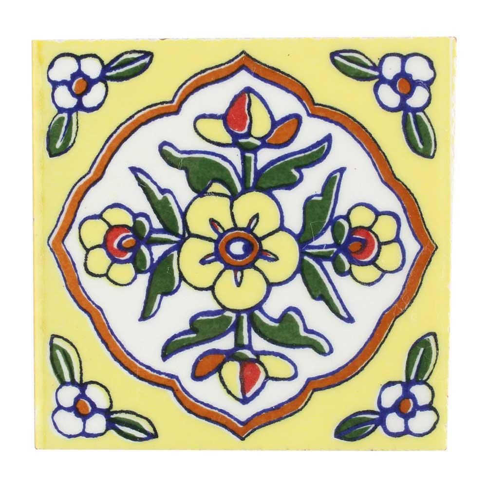 Yellow Ceramic Tiny Flower Tiles