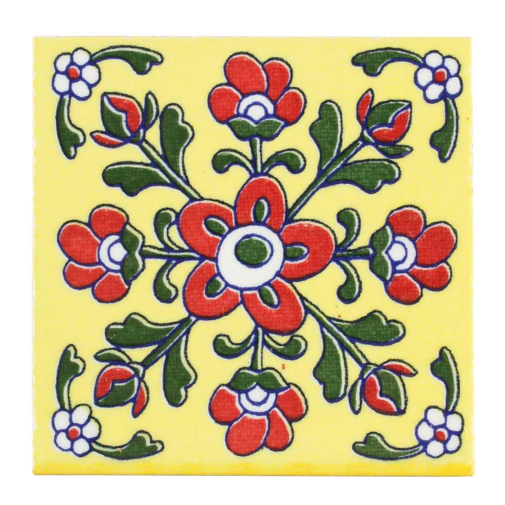 Red Tiny Flower Ceramic Tiles