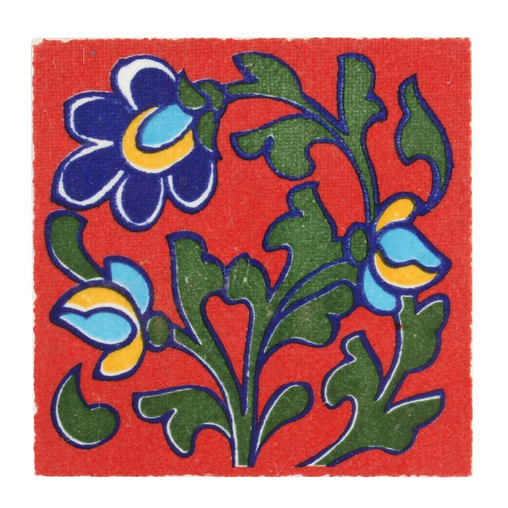Red Base Forest Green Leaf Ceramic Tiles