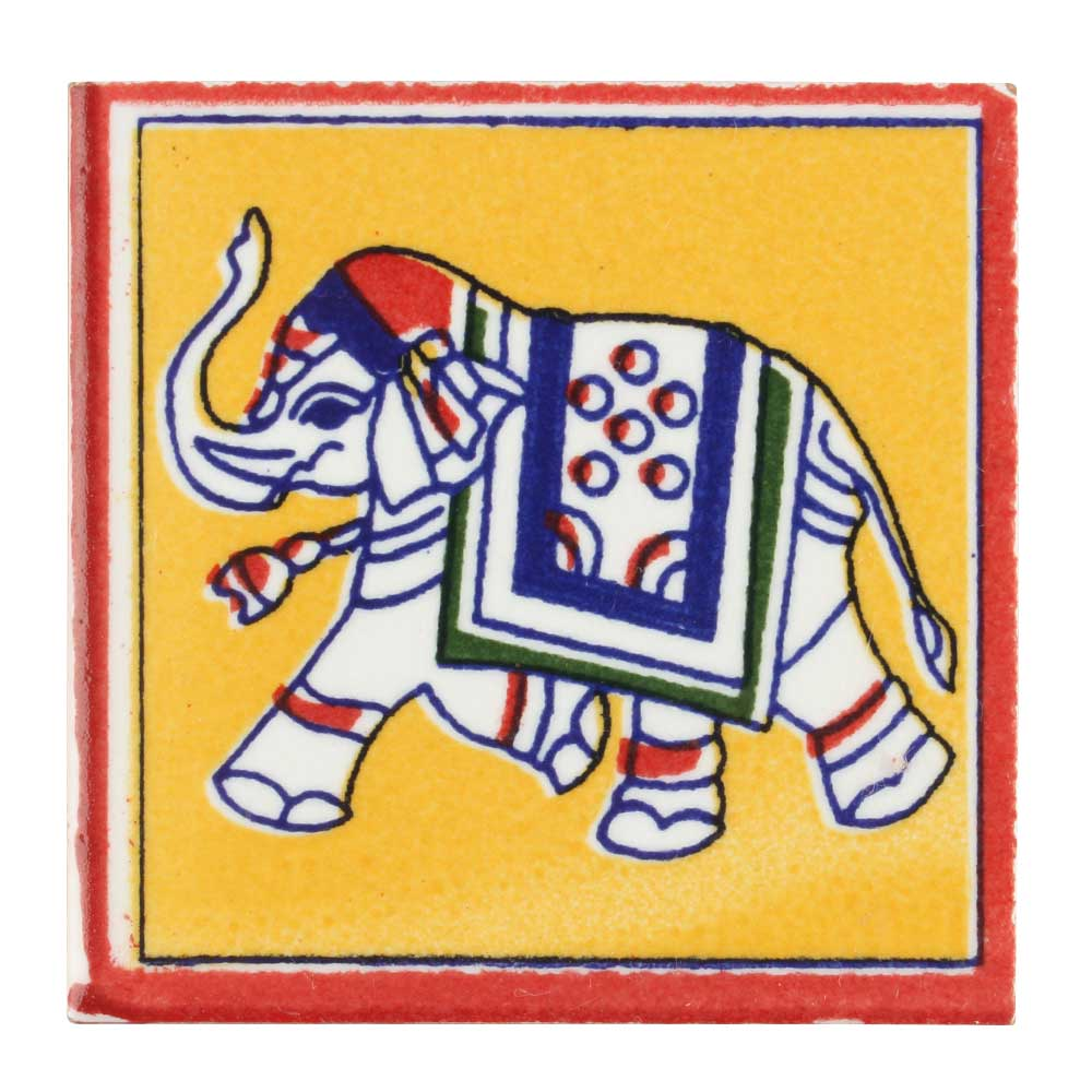 Mustard Base Elephant Ceramic Tiles
