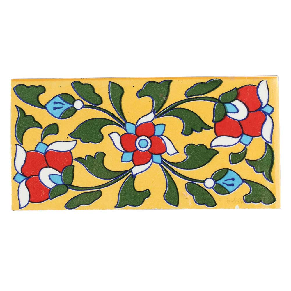 Red Flower With Forest Green Leaf Ceramic Tile