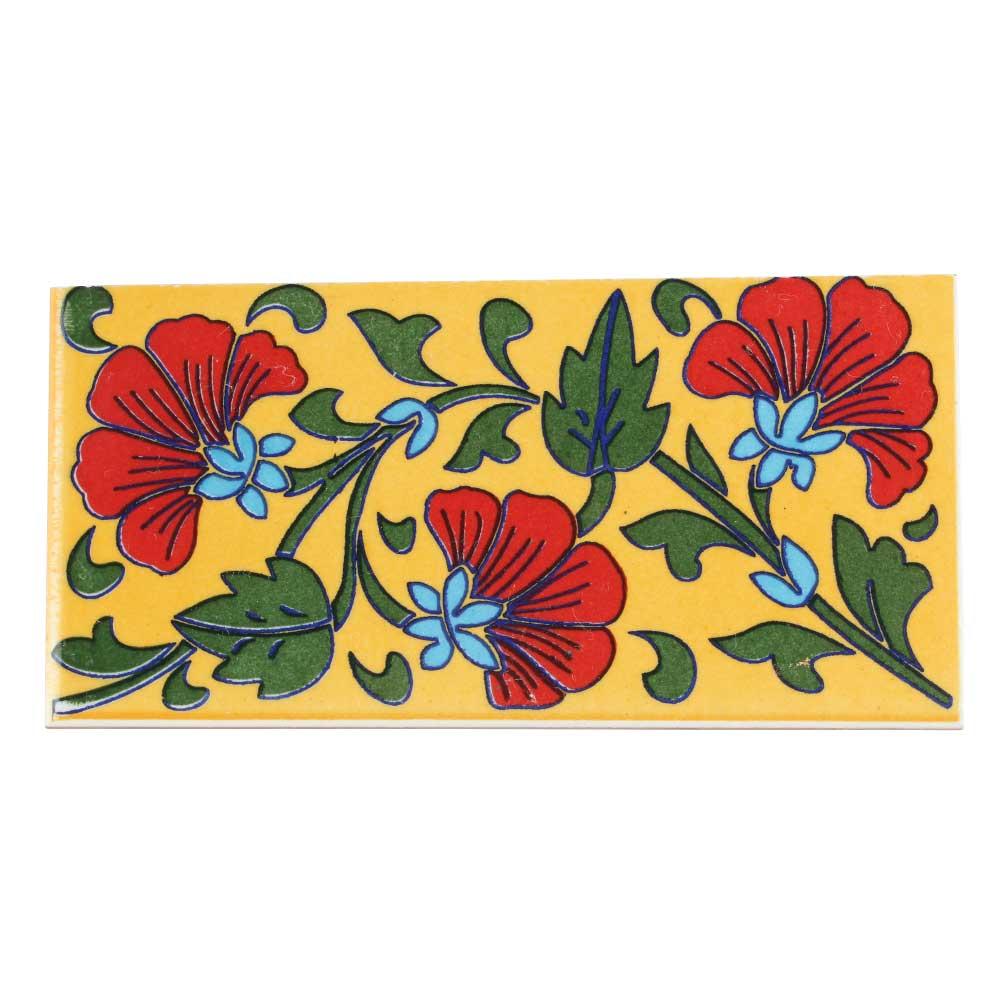 Yellow Base Red Flower Ceramic Tiles