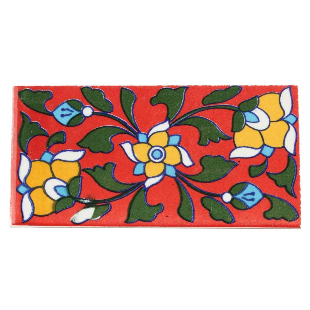 Red Base Yellow Ceramic Tiles