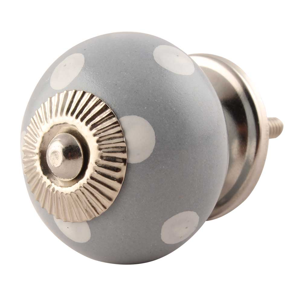 Grey Dotted Ceramic Cabinet Knobs Online