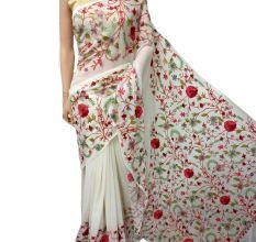 White Big Floral Georgette Sari