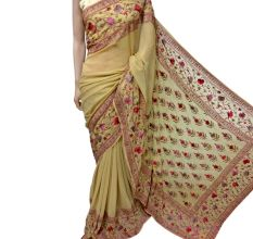 Pale Yellow Floral Georgette Sari