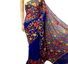 Dark Blue Floral Georgette Sari