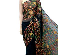 Black Floral Georgette Sari