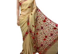 Cream Floral Georgette Sari