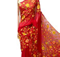 Bright Red Floral Georgette Sari