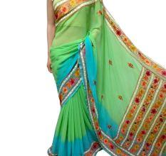 Green Blue Floral Border Georgette Sari