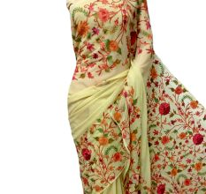 Lime White Hand Embroidered Georgette Sari