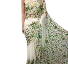 Creamy White Floral Embroidered Georgette Sari