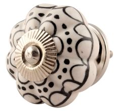 Black Flower Ceramic Melon Cabinet Knob Online