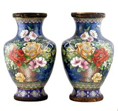 Cloisonne vases Blue Ground  Bunch Of Peony Roses Tied With Ribbon(Set of 2)