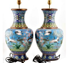 Cloisonne Enamel Scenic Crane And Clouds Floor Vase(Set Of 2)